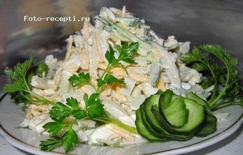 Салат из кальмаров с огурцом и сыром рецепт с