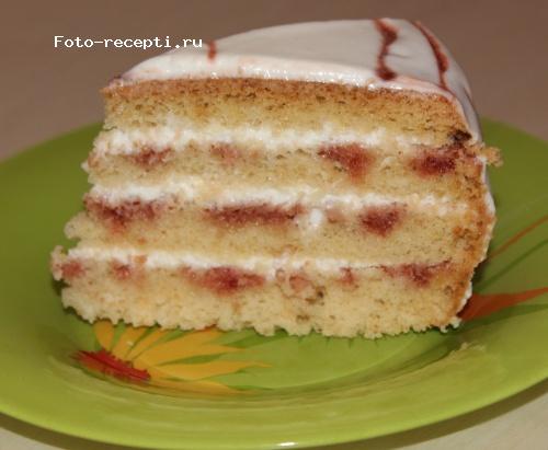 бисквитный торт с сметнковым кремом пошаговый рецепт с фото