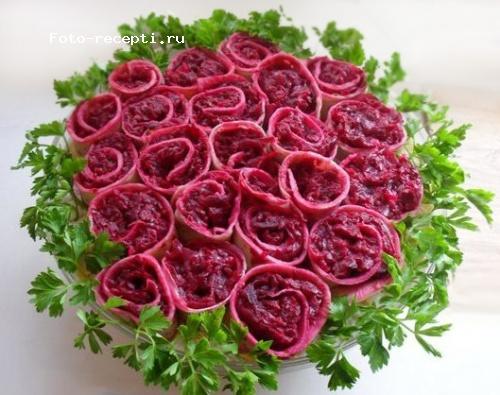 Салат красные розы к 9 мая