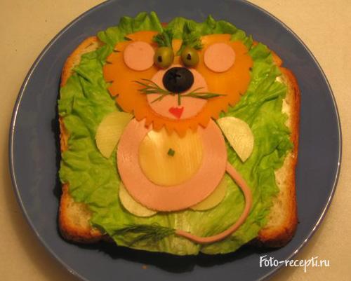 Лев Бутерброды для детского праздника и завтрака детей