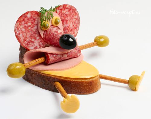 Мышка Бутерброды для детского праздника и завтрака детей