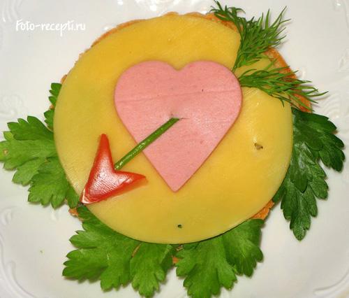 Сердце Бутерброды для детского праздника и завтрака детей