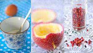 Merengues con pimienta rosa y kurdos fruta de la pasión