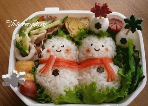 Рисовые снеговики