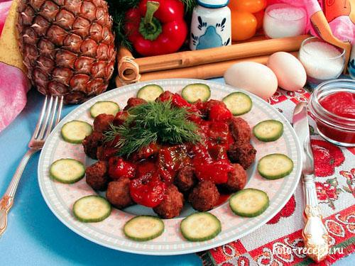 Рецепт приготовления свиных шариков с ананасом
