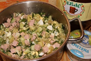 Пошаговый рецепт приготовления окрошки на квасе с колбасой с фотографиями