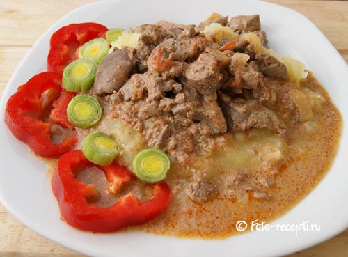 Рецепт куриной печени со сметаной