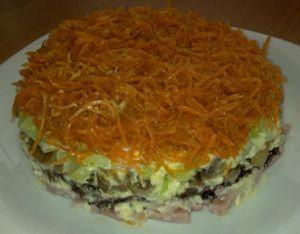 рецепт салата из копченого окорочка