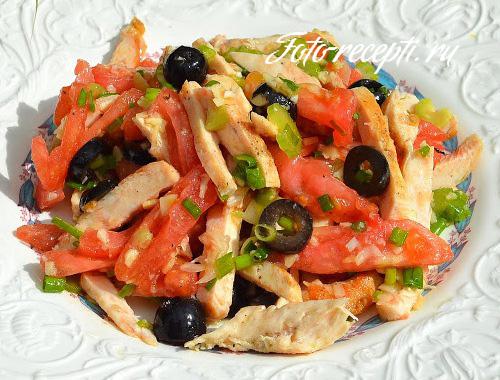 салат с курицей и помидорами с фото