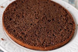 Bird cereza pastel con relleno de chocolate