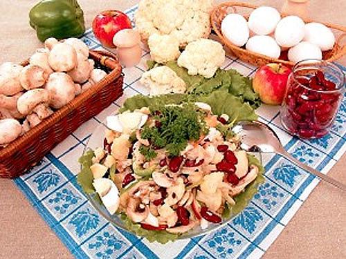 рецепт салата с шампиньонами и с фасолью