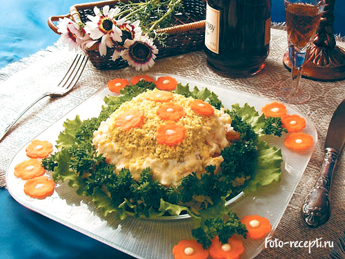 рецепт с пошаговым фото салат мимоза с рисом