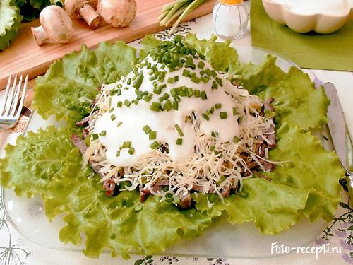 Жареная картошка с шампиньонами со сметаной рецепт